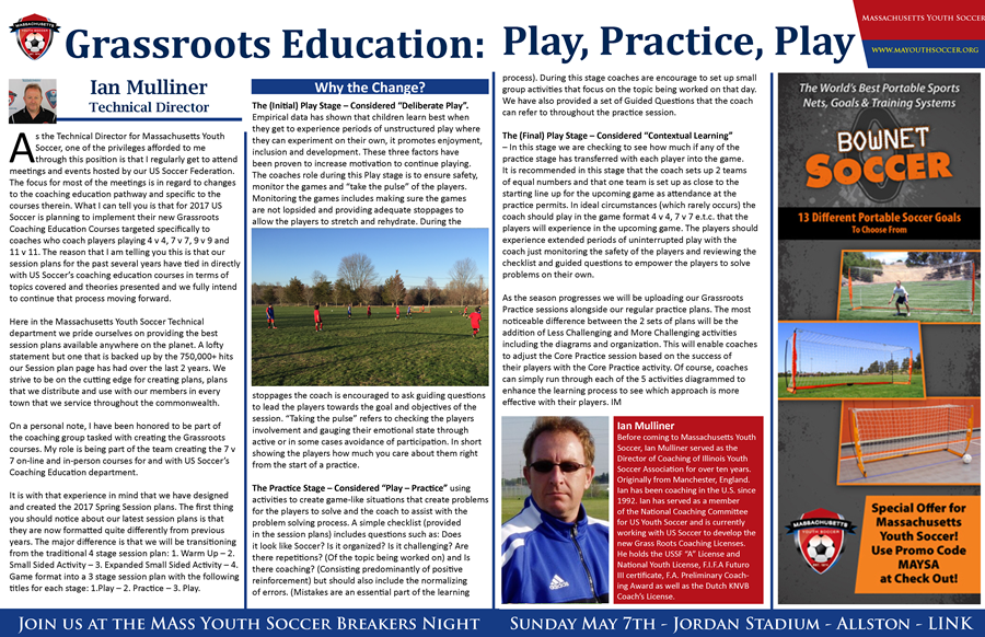 Mass Youth Soccer Monthly - Ian Blog